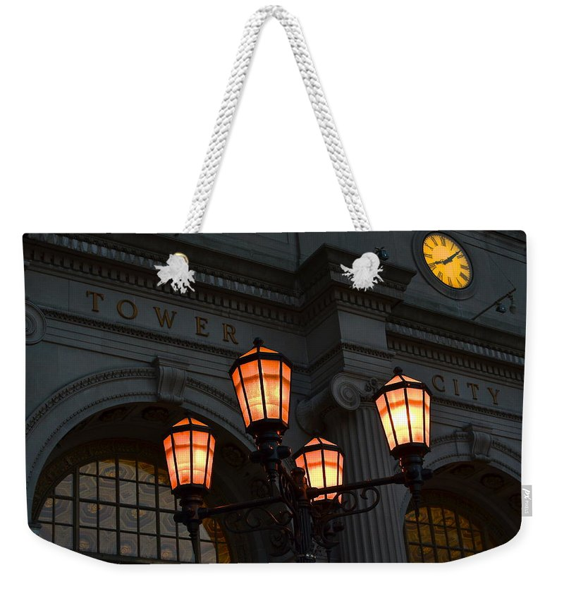Tower Weekender Tote Bag featuring the photograph A Tower City Night by Frozen in Time Fine Art Photography
