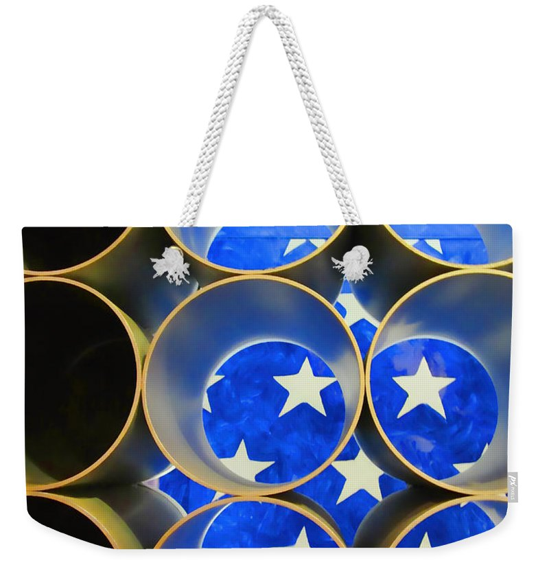 American Weekender Tote Bag featuring the photograph A Unique Perspective On The American Flag by Kathy Clark