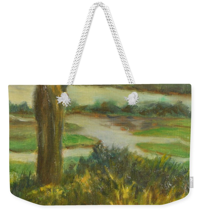 Hudson River Weekender Tote Bag featuring the painting A View From Boscobel by Phyllis Tarlow