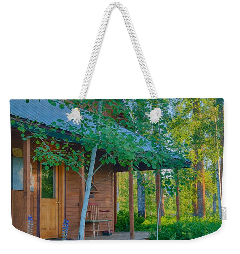 2014 Weekender Tote Bag featuring the digital art A View Of A Cottage With Aspen Trees by Omaste Witkowski