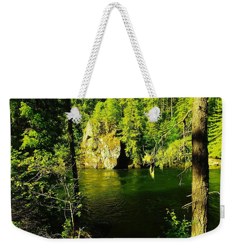 Rivers Weekender Tote Bag featuring the photograph A View Of The Seleway River by Jeff Swan