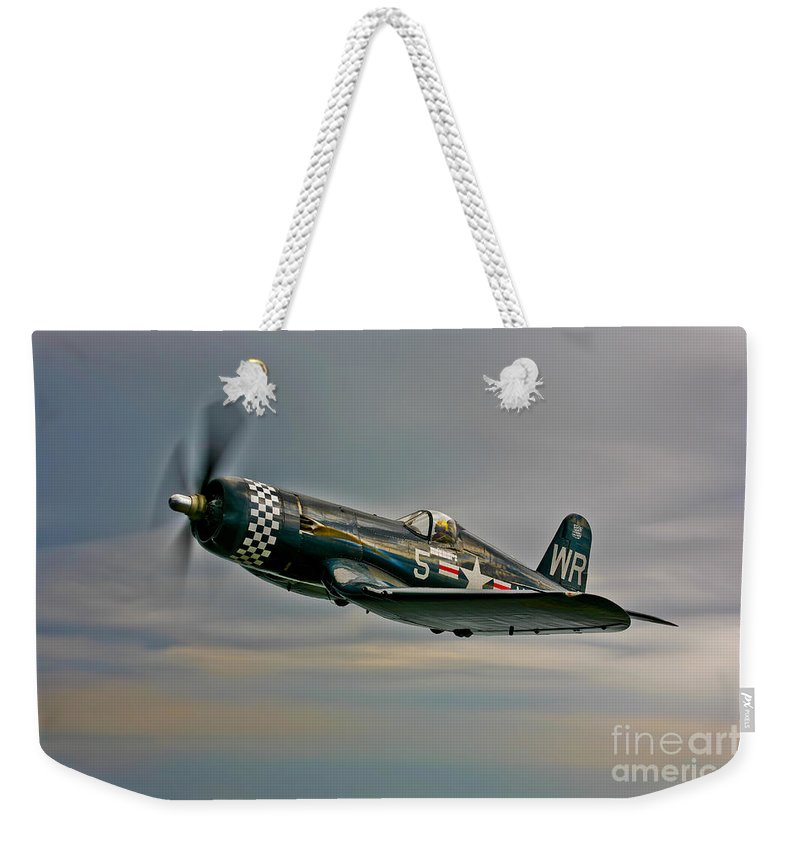 Horizontal Weekender Tote Bag featuring the photograph A Vought F4u-4 Corsair In Korean War by Scott Germain