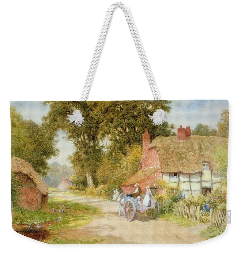 Horse And Cart; Thatched Cottage; Thatch; Half-timbered; Country Lane; Rural; Duck Pond; Ducks; Victorian; Countryside Weekender Tote Bag featuring the painting A Warwickshire Lane by Arthur Claude Strachan