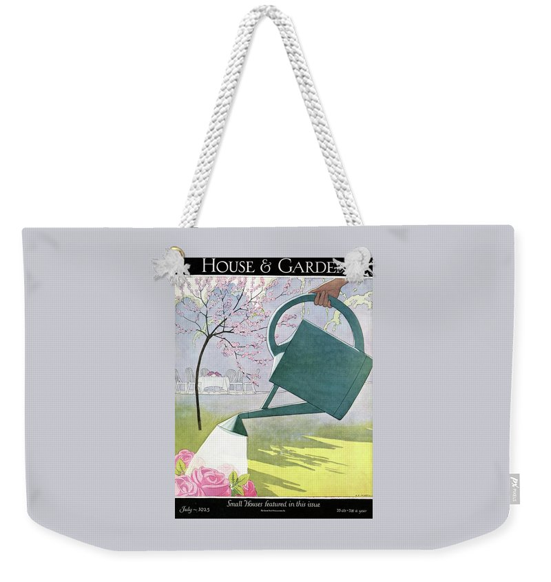 House And Garden Weekender Tote Bag featuring the photograph A Watering Can Above Pink Roses by Andre E Marty