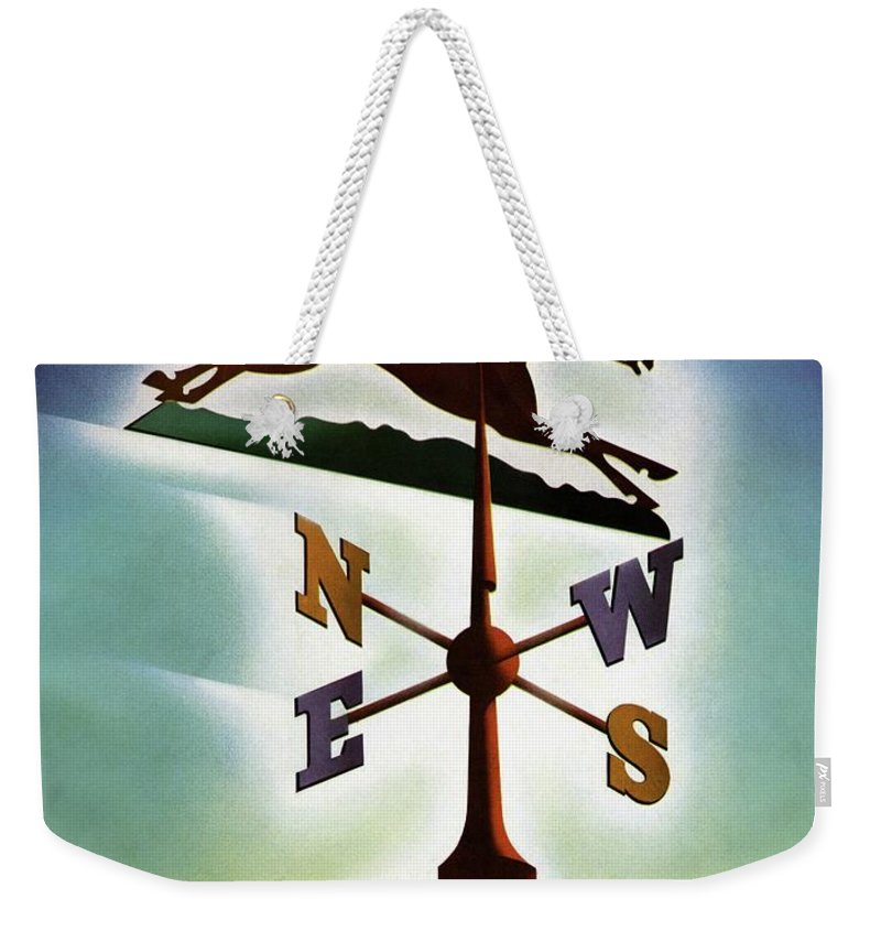 House And Garden Weekender Tote Bag featuring the photograph A Weathervane With A Racehorse by Joseph Binder