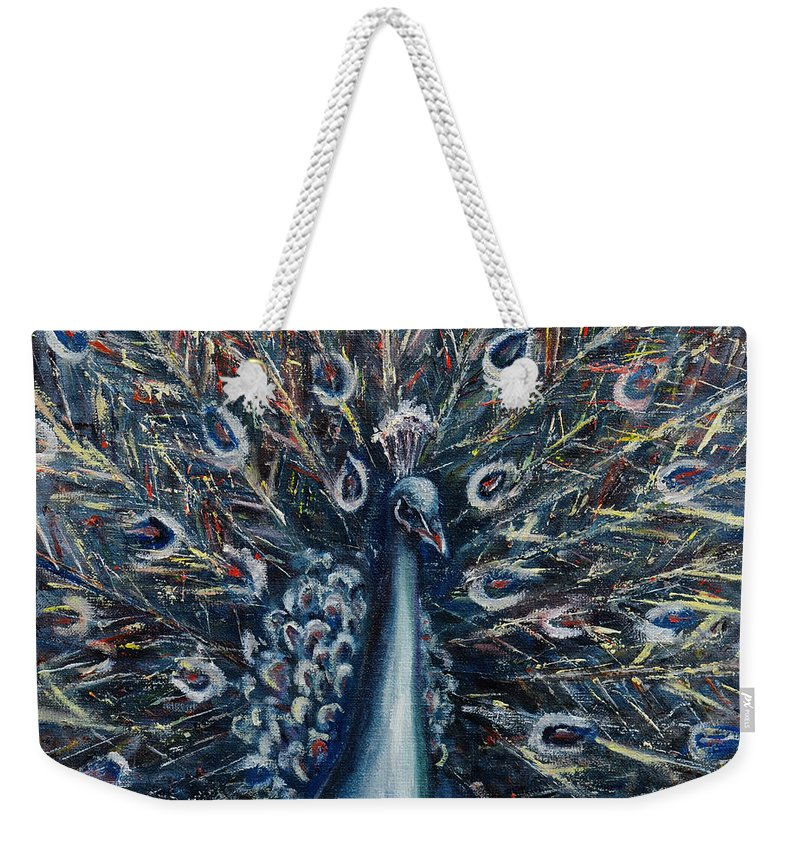 Peacock Weekender Tote Bag featuring the painting A White Peacock by Xueling Zou