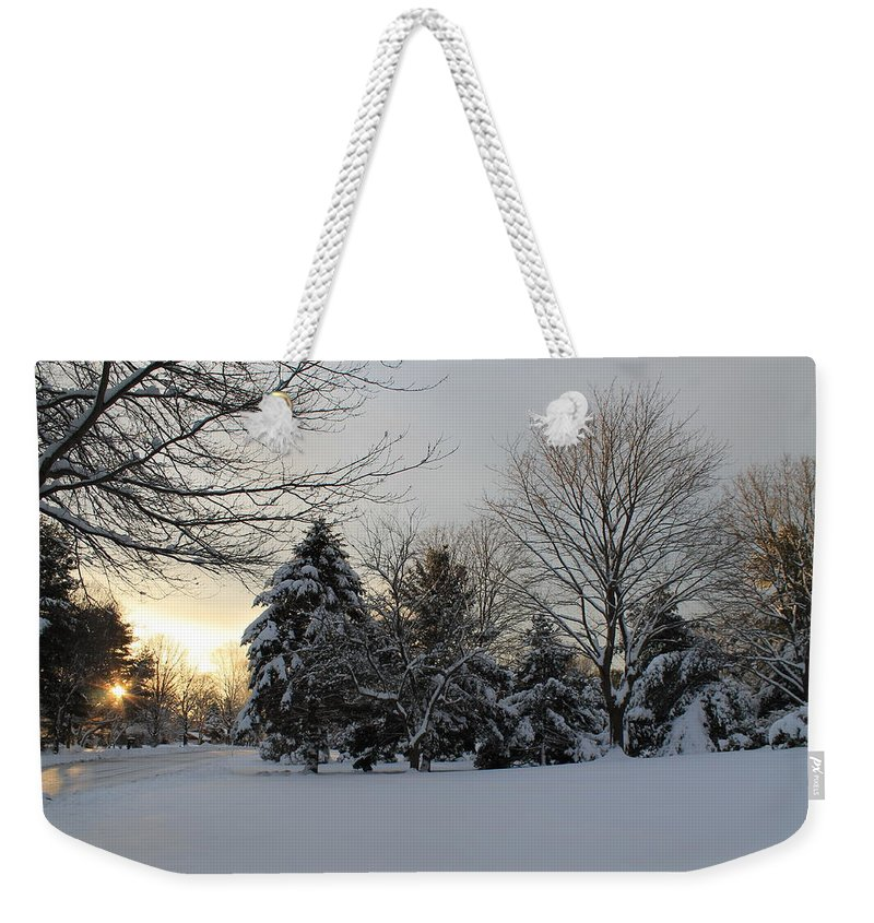 Fresh Snowfall Weekender Tote Bag featuring the photograph A White Winter's Morning by Catie Canetti