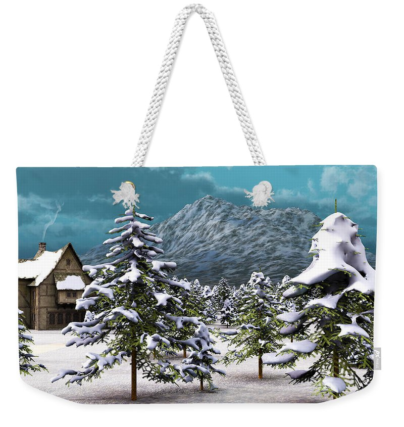 Landscape Weekender Tote Bag featuring the digital art A Winter Scene... by Tim Fillingim
