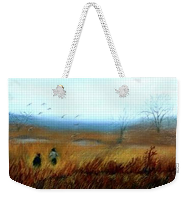 Figures Weekender Tote Bag featuring the painting A Winter Walk by Gail Kirtz