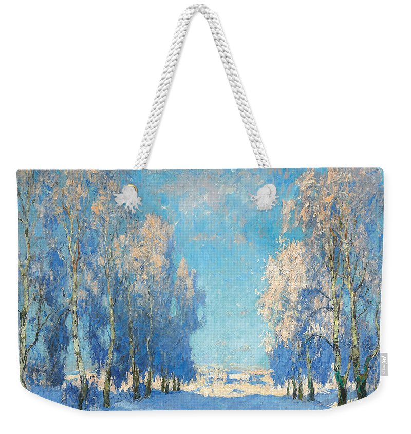 Winter Weekender Tote Bag featuring the painting A Winter's Day by Konstantin Ivanovich Gorbatov