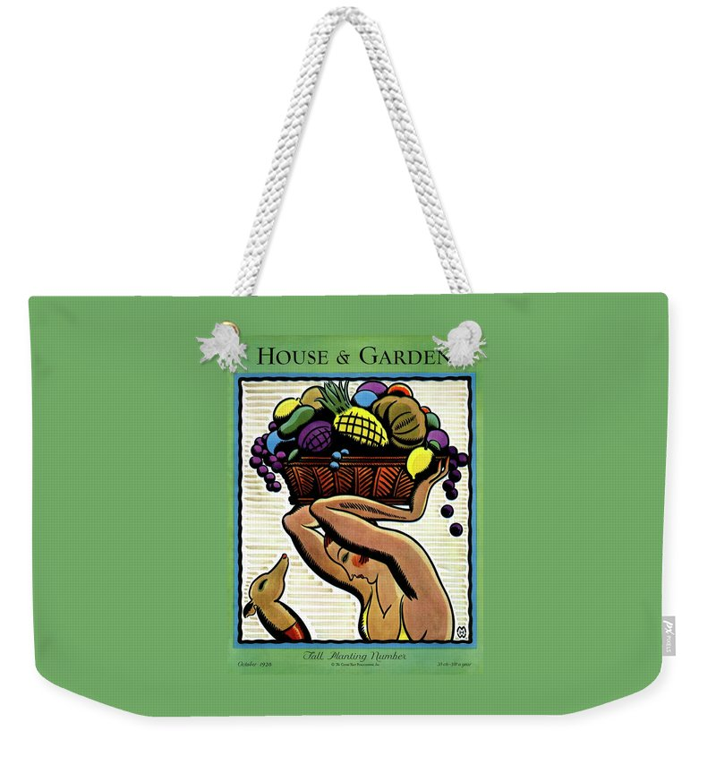 House And Garden Weekender Tote Bag featuring the photograph A Woman Holding A Basket Of Fruit by Marion Wildman