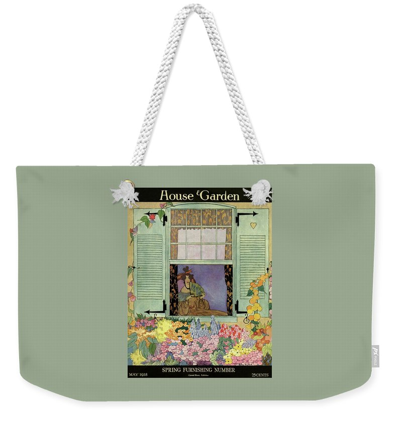 House And Garden Weekender Tote Bag featuring the photograph A Woman With A Fan by Helen Dryden