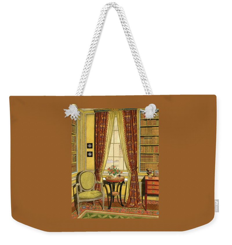 Illustration Weekender Tote Bag featuring the digital art A Yellow Library With A Vase Of Flowers by Harry Richardson