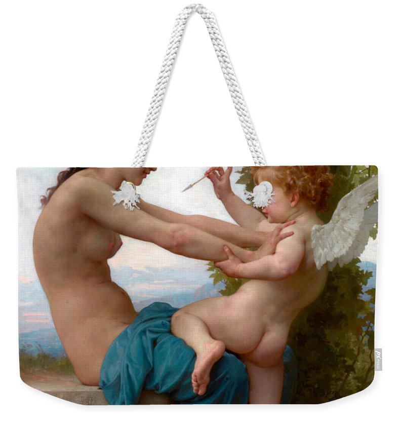 Eros Weekender Tote Bag featuring the photograph A Young Girl Defending Herself Against Eros by Munir Alawi