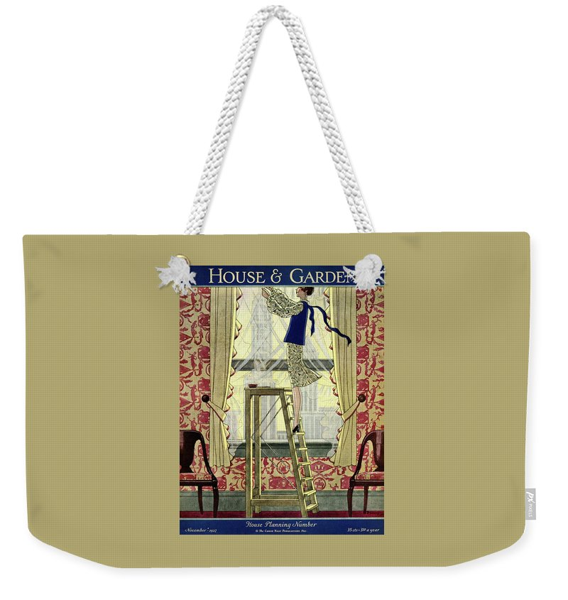 House And Garden Weekender Tote Bag featuring the photograph A Young Matron Adjusting Curtains by Pierre Mourgue