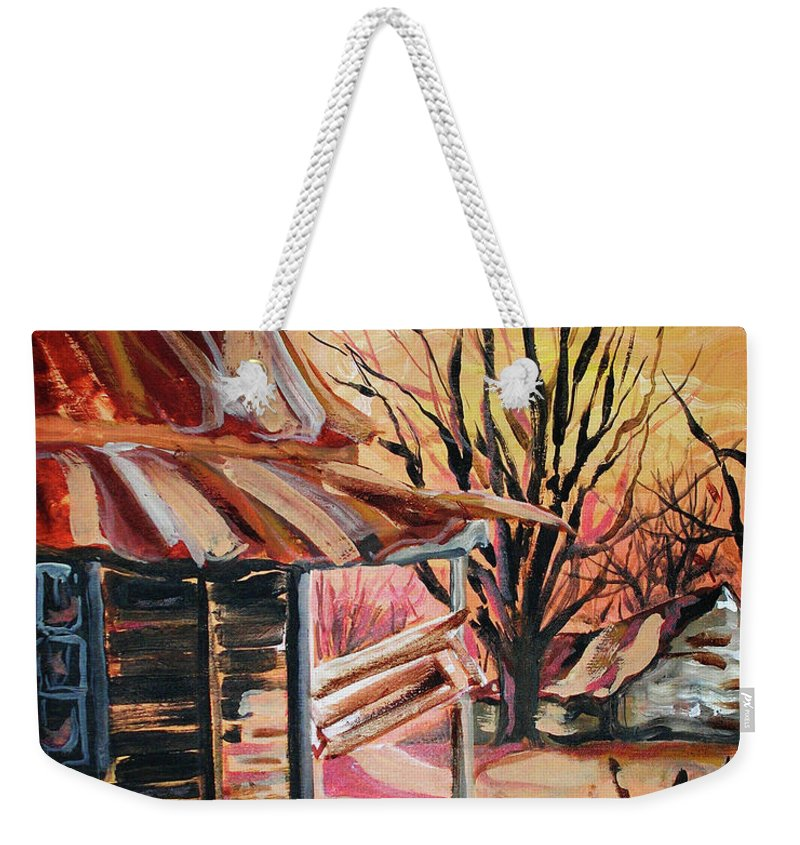 Shack Weekender Tote Bag featuring the painting Abandoned Farm by Lizi Beard-Ward