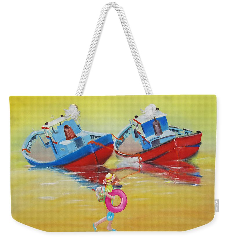 Red Fishing Boats Weekender Tote Bag featuring the painting Abandoned Fishing Boats Tavira by Charles Stuart