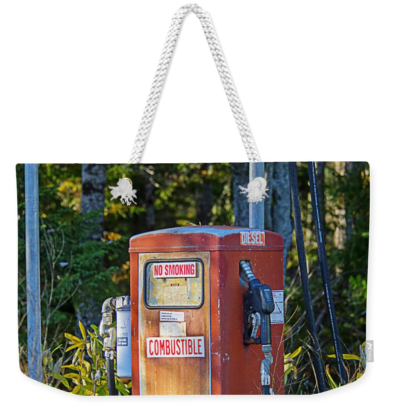 Gas Pump Weekender Tote Bag featuring the photograph Abandoned Gas Pump by Alana Ranney