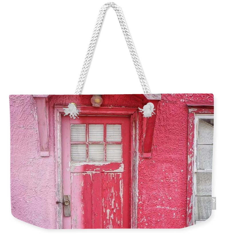 Built Structure Weekender Tote Bag featuring the photograph Abandoned Pink And Red House by Stan Strange / Eyeem