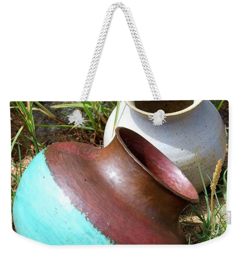 Abandoned Pots Weekender Tote Bag featuring the photograph Abandoned Pots by Mary Deal