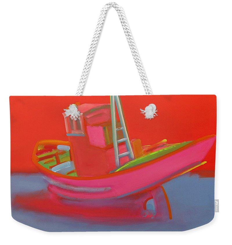 Fishing Weekender Tote Bag featuring the painting Abandoned Red Fishing Trawler by Charles Stuart
