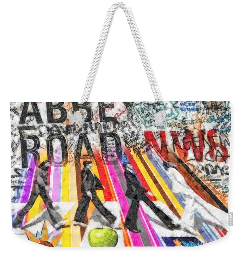 Abbey Road Weekender Tote Bag featuring the mixed media Abbey Road by Mo T