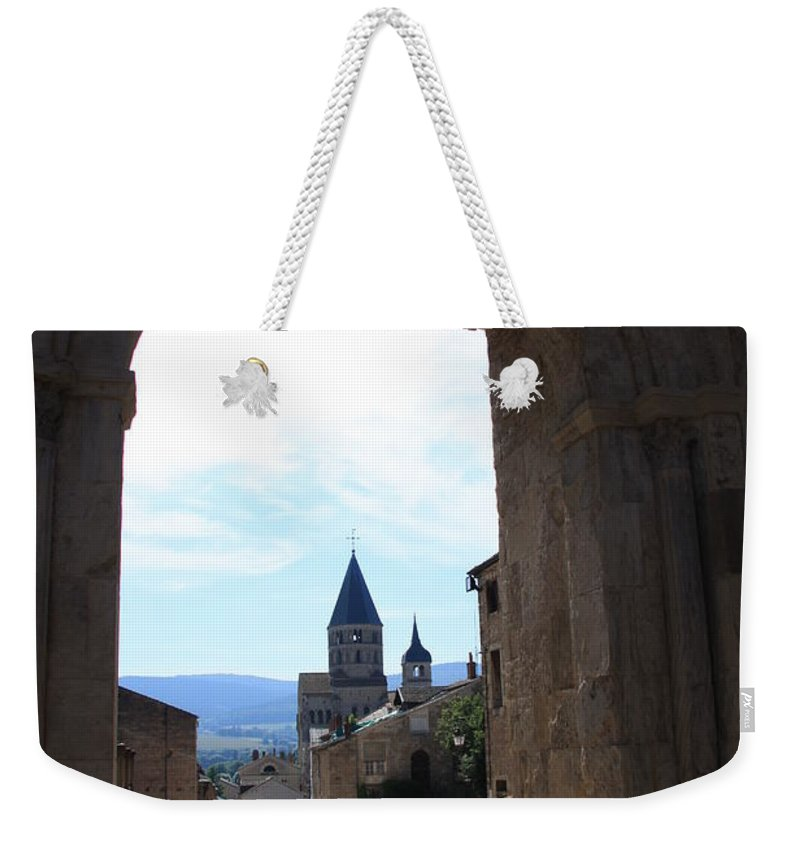 Church Weekender Tote Bag featuring the photograph Abbey Through Doorway - Cluny by Christiane Schulze Art And Photography