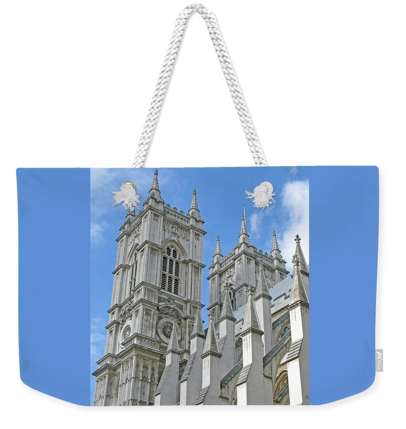 London Weekender Tote Bag featuring the photograph Abbey Towers by Ann Horn