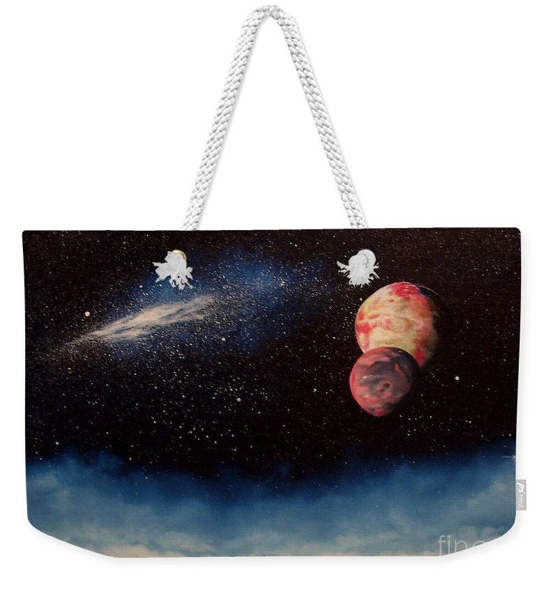Landscape Weekender Tote Bag featuring the painting Above Alien Clouds by Murphy Elliott