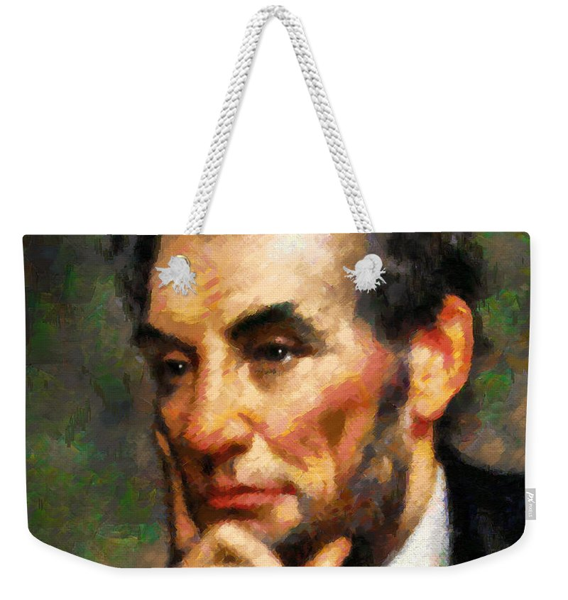 Abstract Weekender Tote Bag featuring the painting Abraham Lincoln - Abstract Realism by Georgiana Romanovna