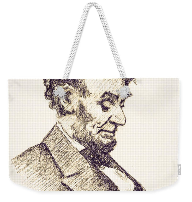 Abraham Lincoln Head Bowed Drawing 1910 Weekender Tote Bag featuring the digital art Abraham Lincoln Head Bowed Drawing 1910 by Bill Cannon