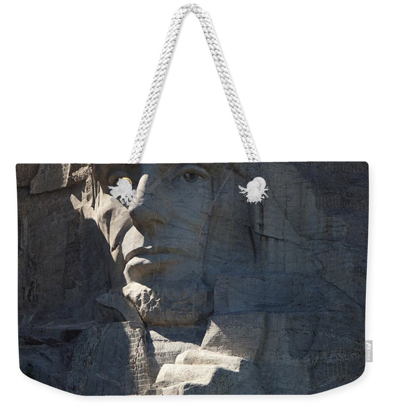 Mount Rushmore Weekender Tote Bag featuring the photograph Abraham Lincoln Mount Rushmore National Monument by Jason O Watson