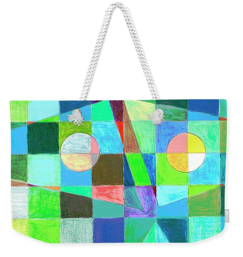 Green Weekender Tote Bag featuring the drawing Abstract 3 by Mary Bedy