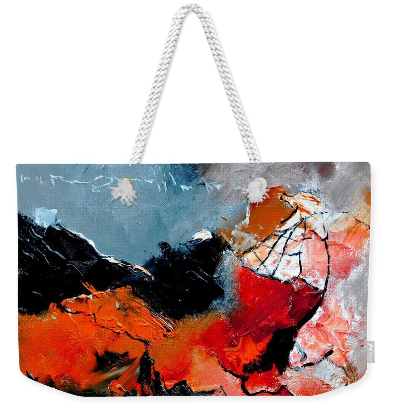 Abstract Weekender Tote Bag featuring the painting Abstract 553101 by Pol Ledent