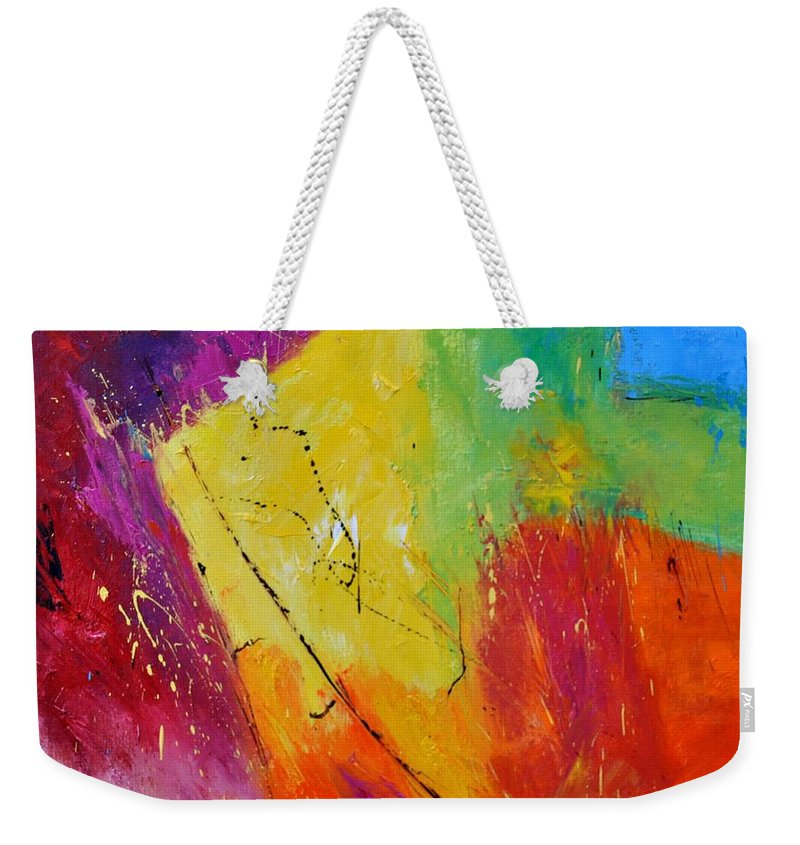 Abstract Weekender Tote Bag featuring the painting Abstract 77411112 by Pol Ledent