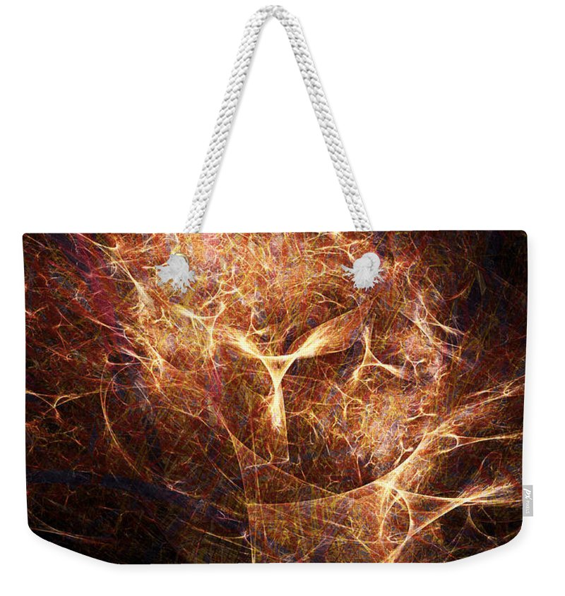 Abstract Weekender Tote Bag featuring the digital art Abstract Angels Burning Sepia by Russell Kightley