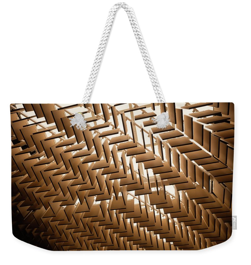 Material Weekender Tote Bag featuring the photograph Abstract Architectural Pattern by Lena serditova