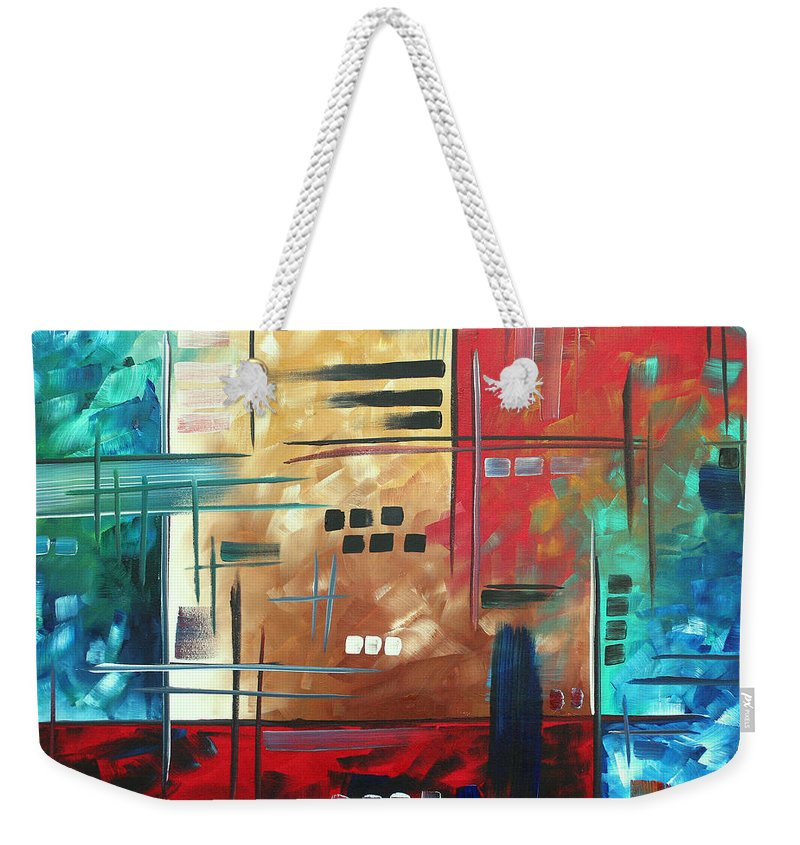 Abstract Weekender Tote Bag featuring the painting Abstract Art - Color Rush - Original Painting Madart by Megan Duncanson