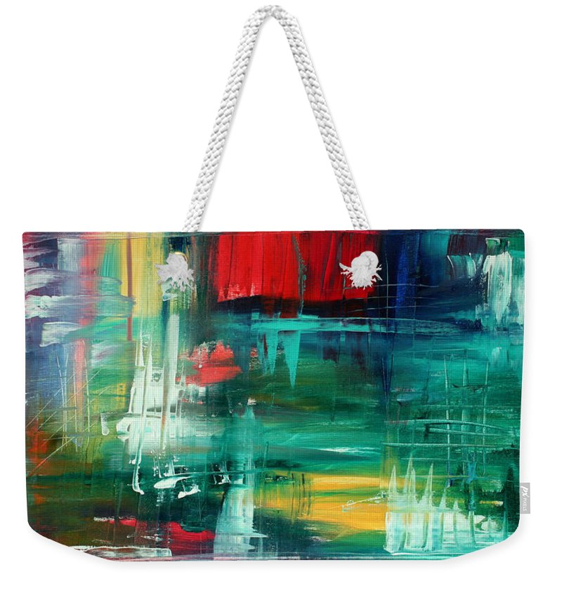 57b1ad14d Vibrant Red Weekender Tote Bag featuring the painting Abstract Art Colorful  Original Painting Bold And Beautiful