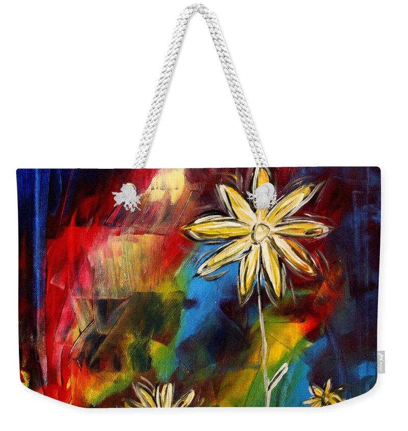 Abstract Weekender Tote Bag featuring the painting Abstract Art Original Daisy Flower Painting Visual Feast By Madart by Megan Duncanson