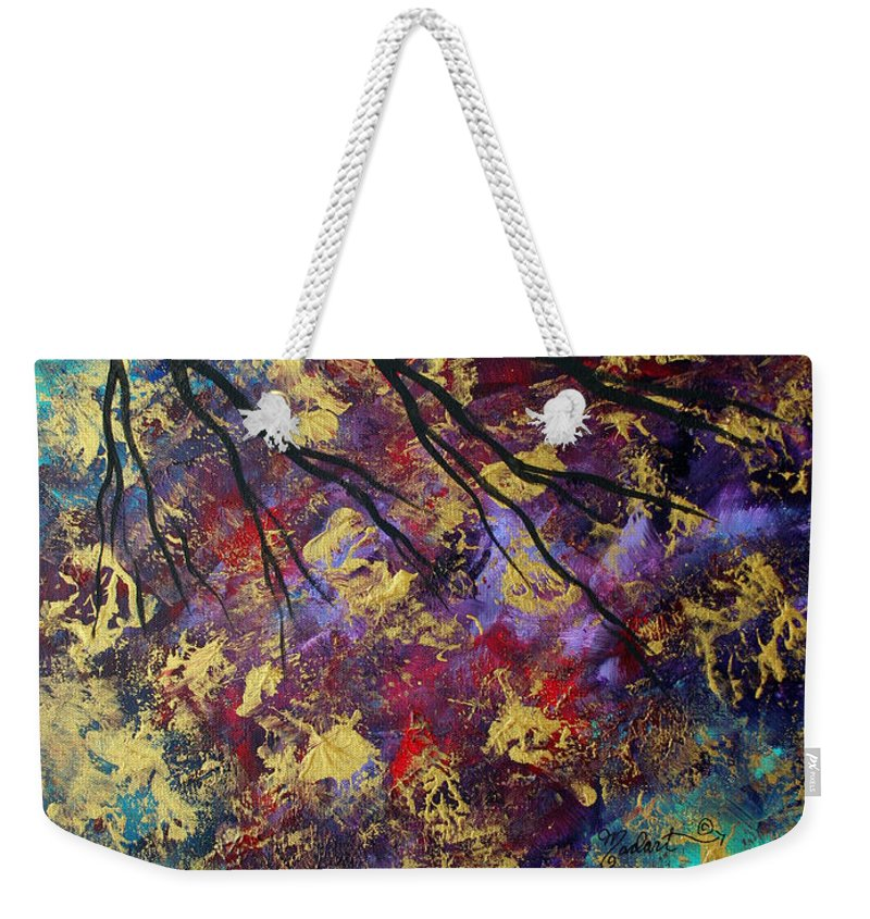 Abstract Weekender Tote Bag featuring the painting Abstract Art Original Landscape Painting Go Forth IIi By Madart Studios by Megan Duncanson