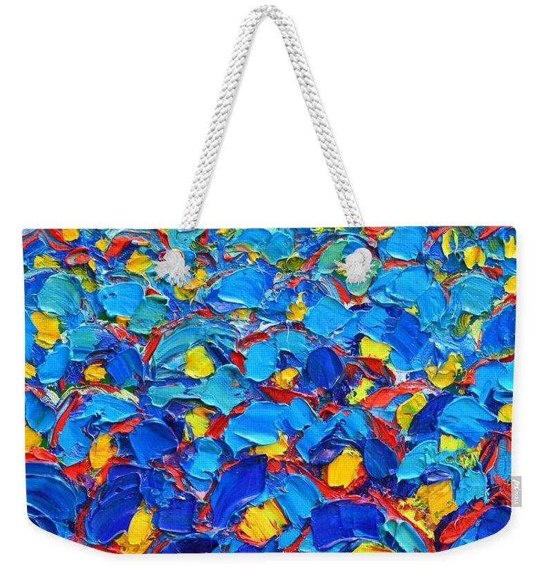Poppies Weekender Tote Bag featuring the painting Abstract Blue Poppies In Sunrise -original Oil Painting by Ana Maria Edulescu