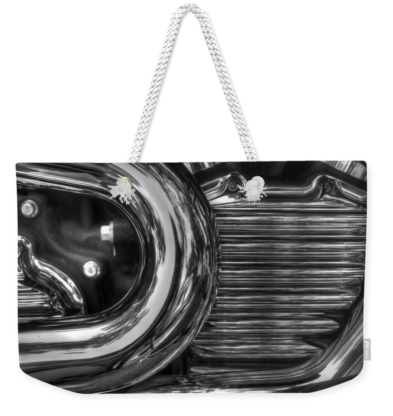 Harley Weekender Tote Bag featuring the photograph Abstract Chrome by Jane Linders