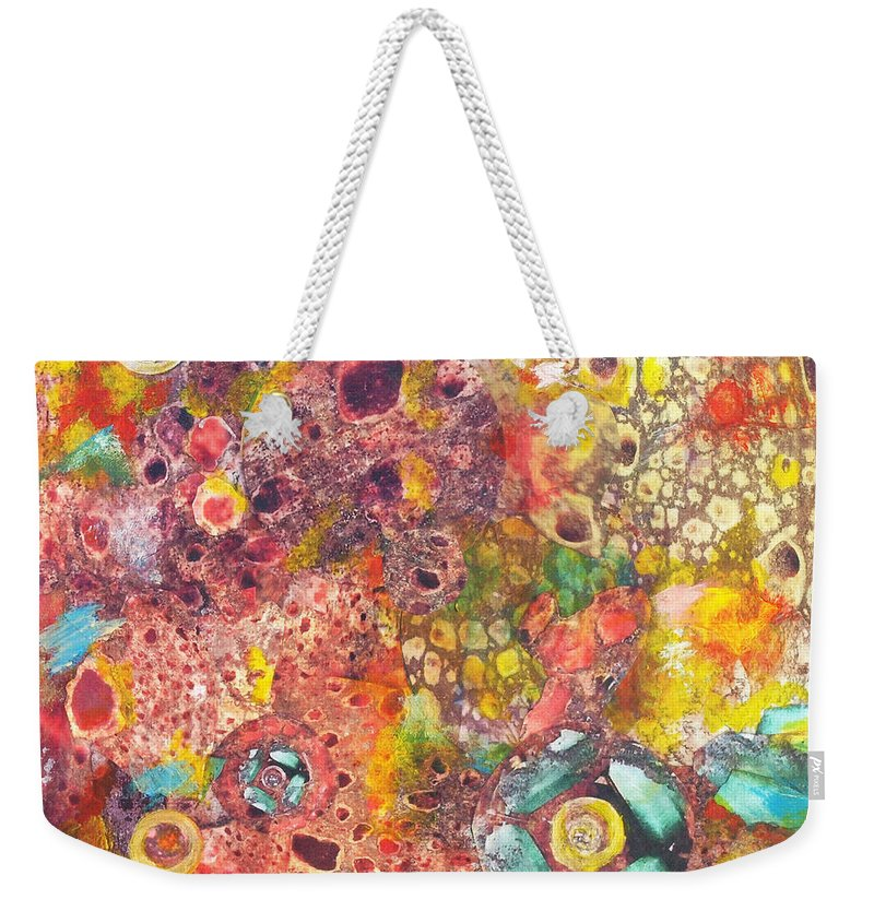 Abstract Weekender Tote Bag featuring the mixed media Abstract Colorama by Judy Tolley