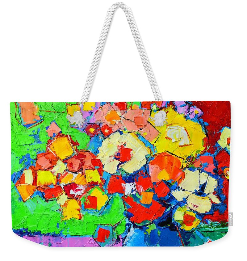 Abstract Weekender Tote Bag featuring the painting Abstract Colorful Flowers by Ana Maria Edulescu