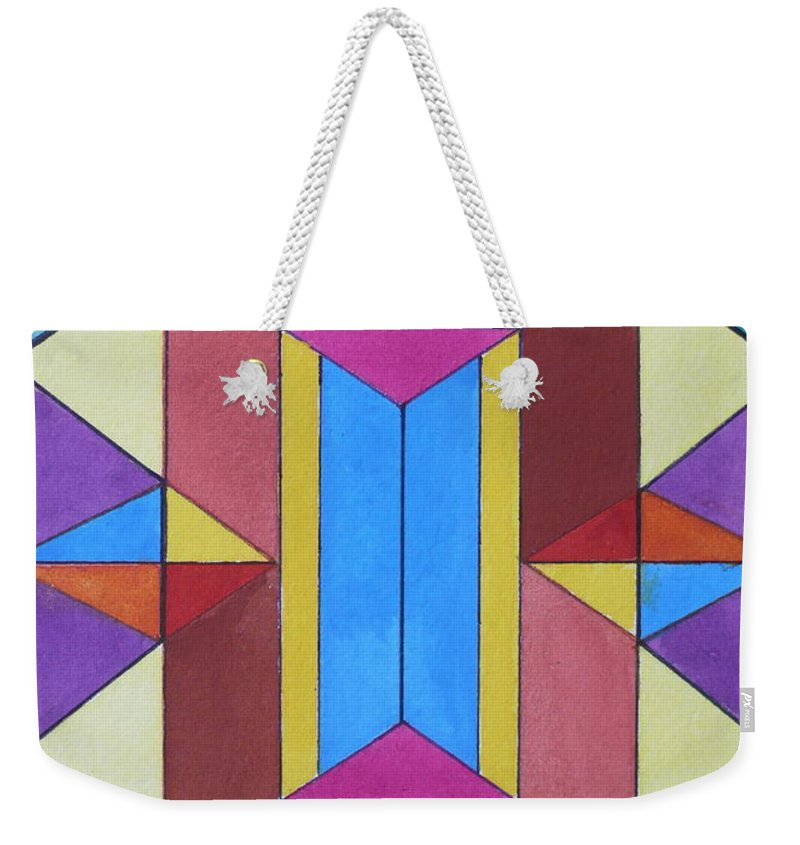 Abstract Weekender Tote Bag featuring the painting Abstract Colorful Stained Glass Window Design by Anna Ruzsan