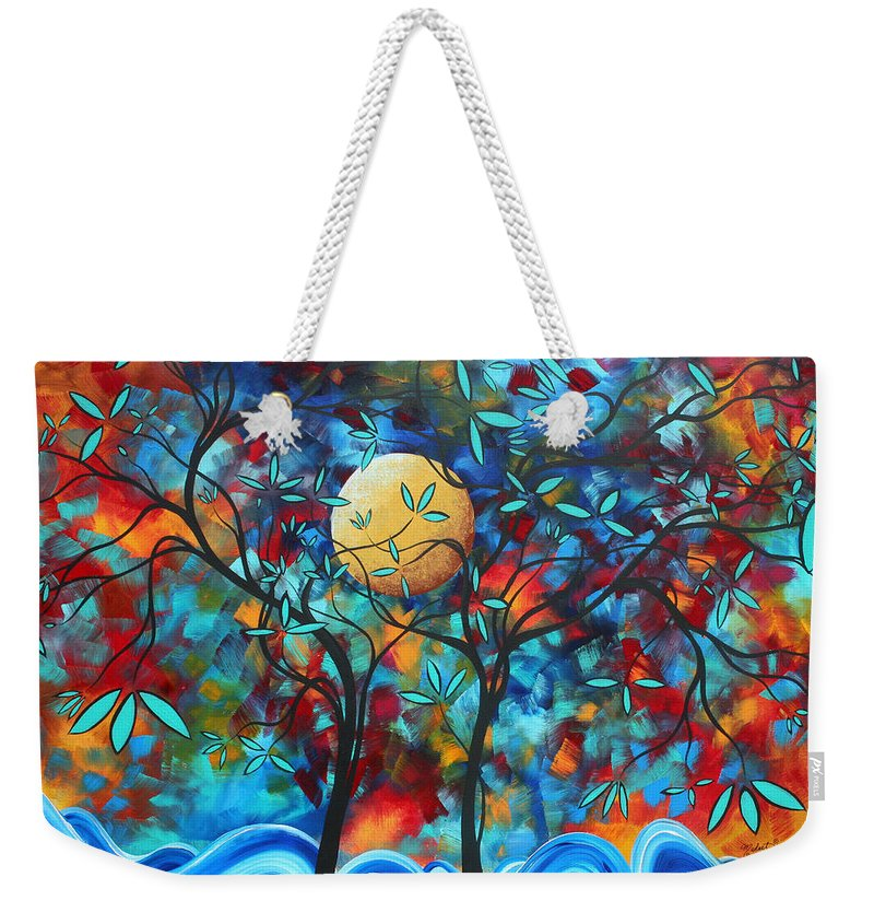 Abstract Weekender Tote Bag featuring the painting Abstract Contemporary Colorful Landscape Painting Lovers Moon By Madart by Megan Duncanson