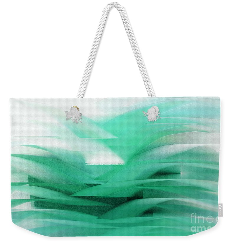 Abstract Weekender Tote Bag featuring the digital art Abstract Cool Waves 2 by Andee Design