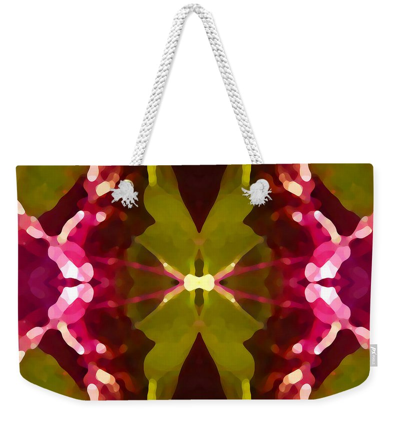 Contemporary Weekender Tote Bag featuring the painting Abstract Crystal Butterfly by Amy Vangsgard
