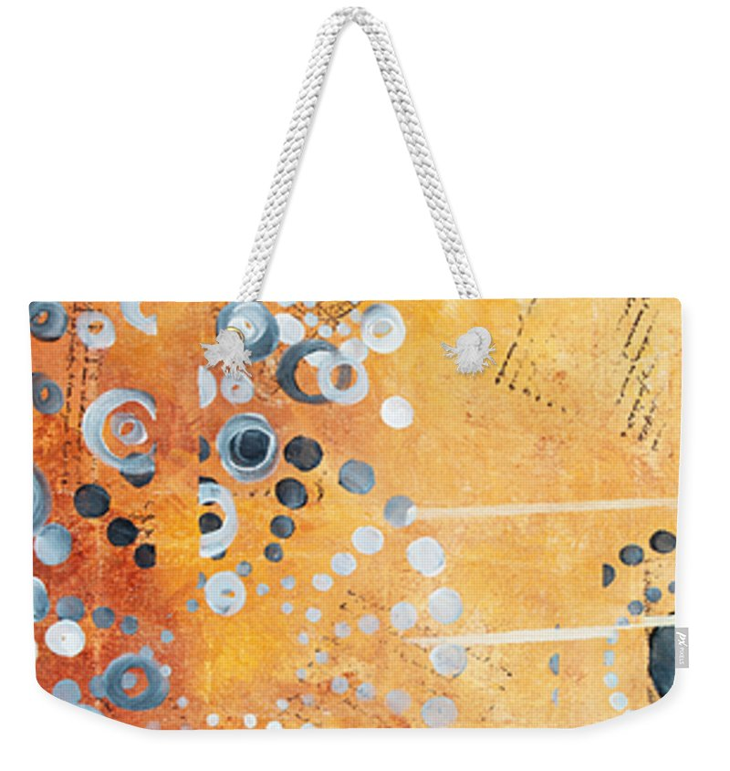 Art Weekender Tote Bag featuring the painting Abstract Decorative Art Original Circles Trendy Painting By Madart Studios by Megan Duncanson